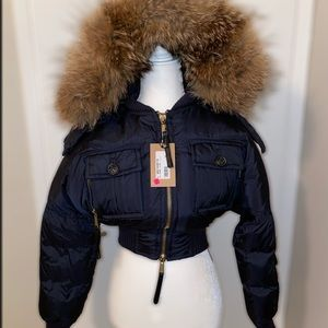 Dsquared2 Raccoon fur cropped jacket